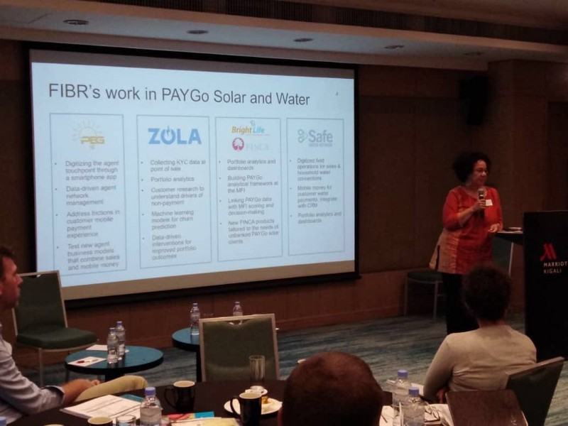 FIBR Project director presenting FIBR's portfolio of PAYGo partners