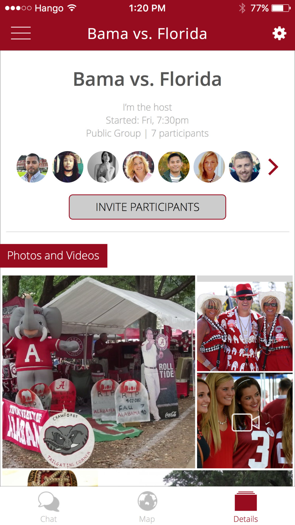 Hango Details   Invite friends at any time and see a collage of photos and videos from each event.