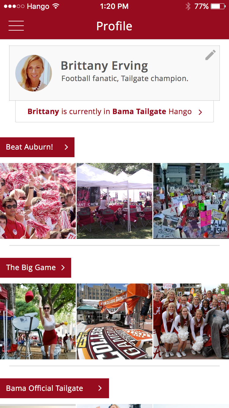 Profile   Relive all your past tailgates and have access to photos from you and your friends.