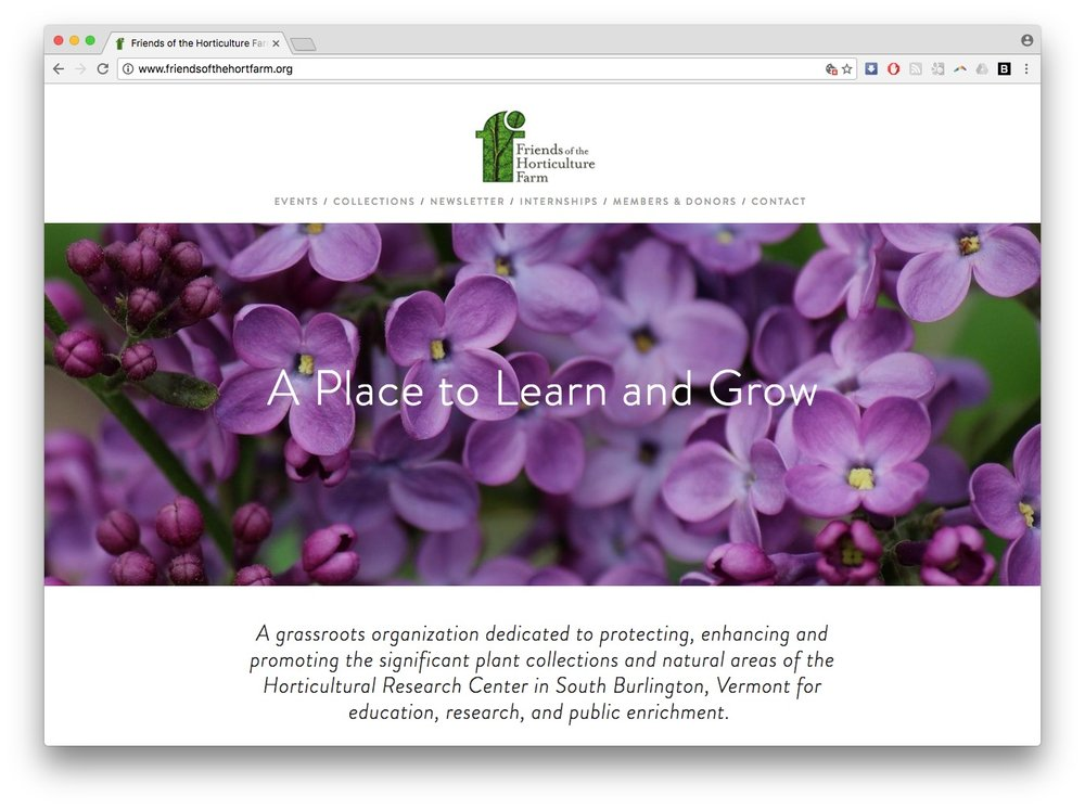 friends of the hort farm homepage screenshot vermont web design squarespace