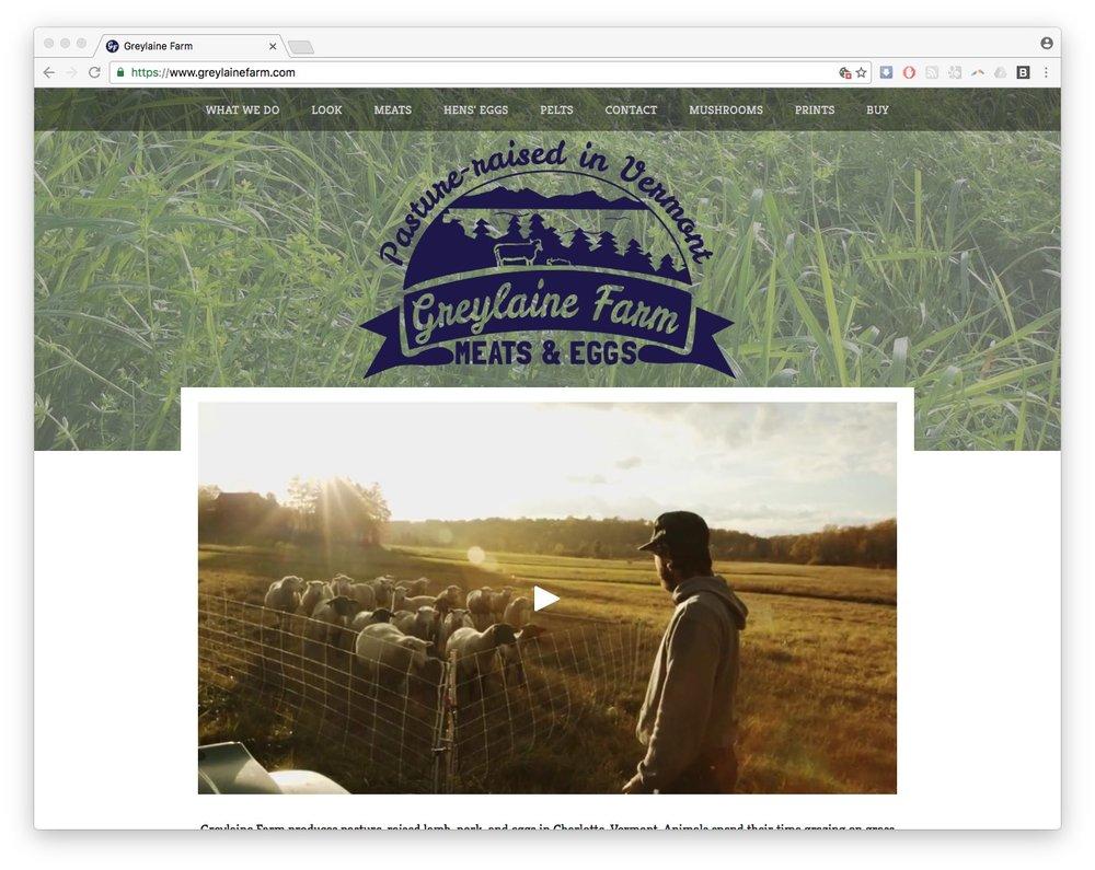 greylaine farm web design squarespace vermont homepage screenshot
