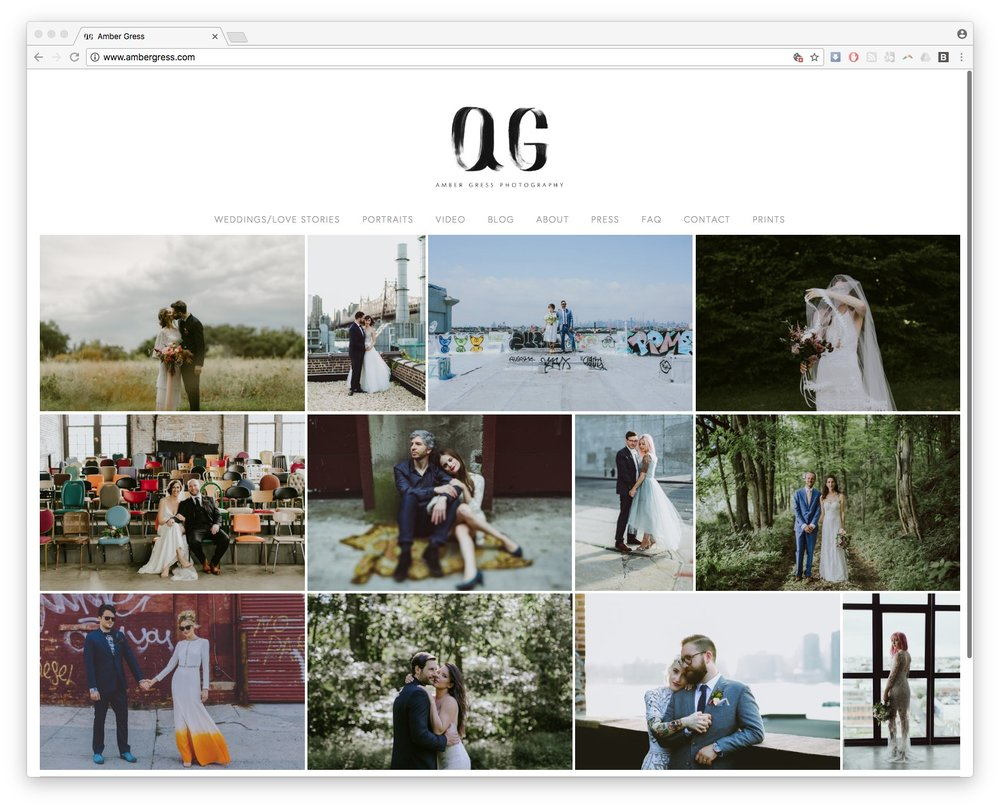 Amber Gress homepage thumbnail web design squarespace photographer burlington vermont