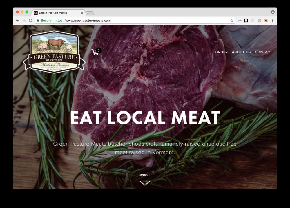 green pasture meats web design squarespace vermont burlington homepage screenshot