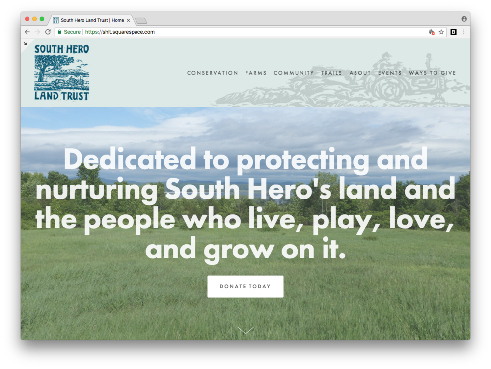 South Hero Land Trust Web Design Squarespace Vermont VT