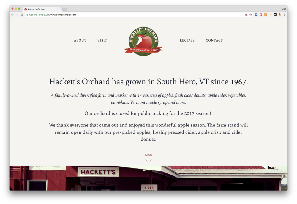 Hacketts Orchard Vermont Homepage on Squarespace