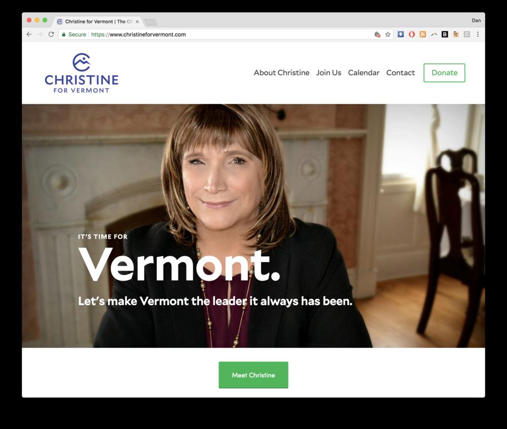 christine hallquist for vermont squarespace homepage screenshot burlington vt