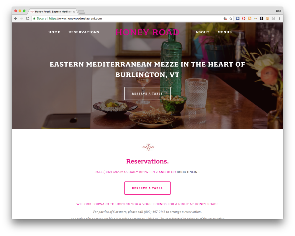 Honey Road Restaurant Burlington, VT Website Homepage Image