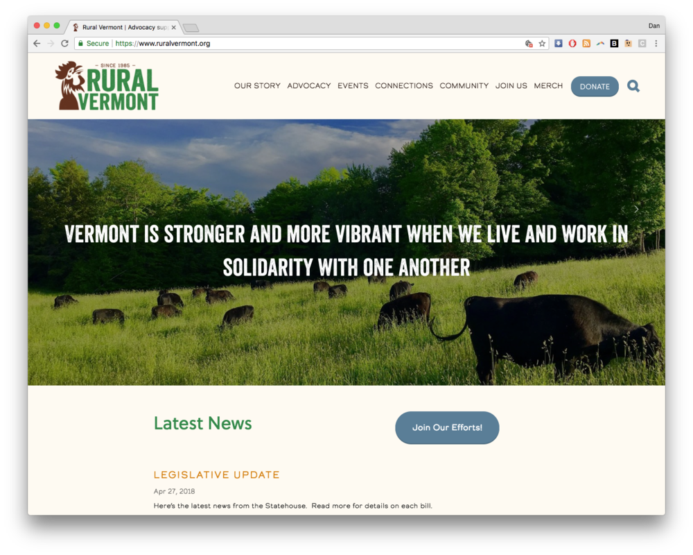 Rural Vermont Web Design on Squarespace Homepage