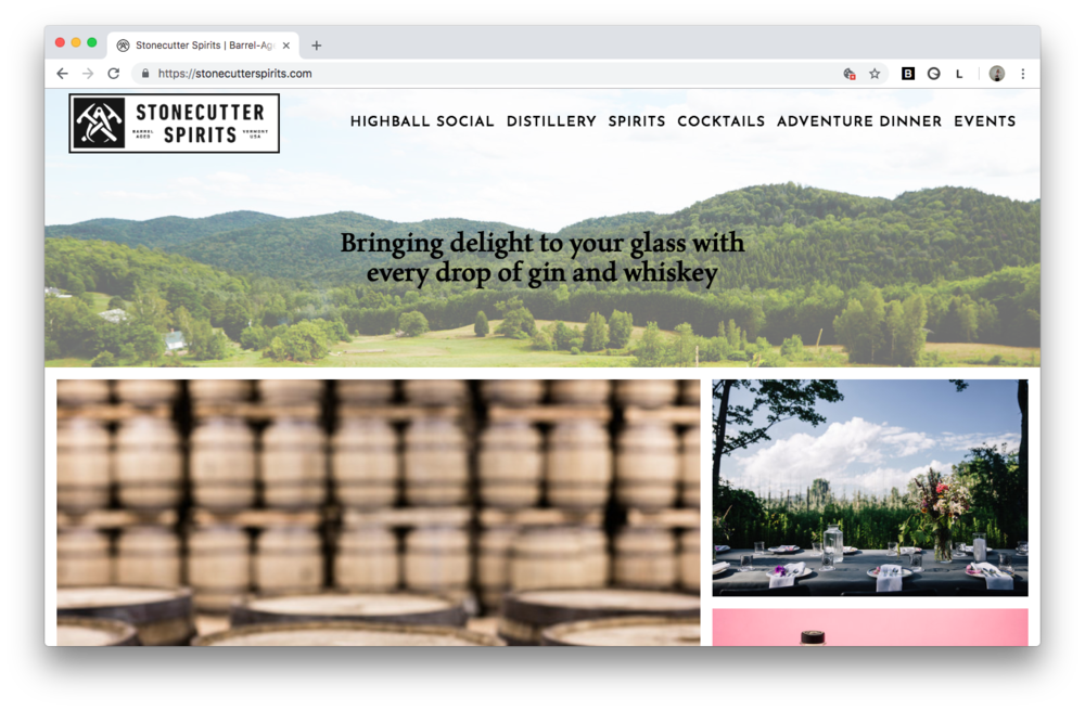 Stonecutter Spirits Homepage on Squarespace