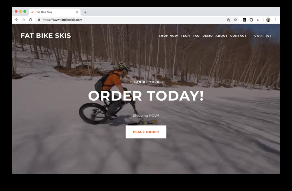 fat bike skis web design vermont squarespace homepage screenshot burlington
