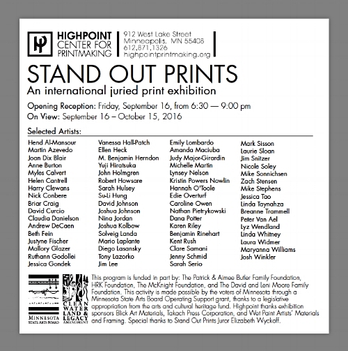 Stand Out Prints 2016 — Claudia Danielson