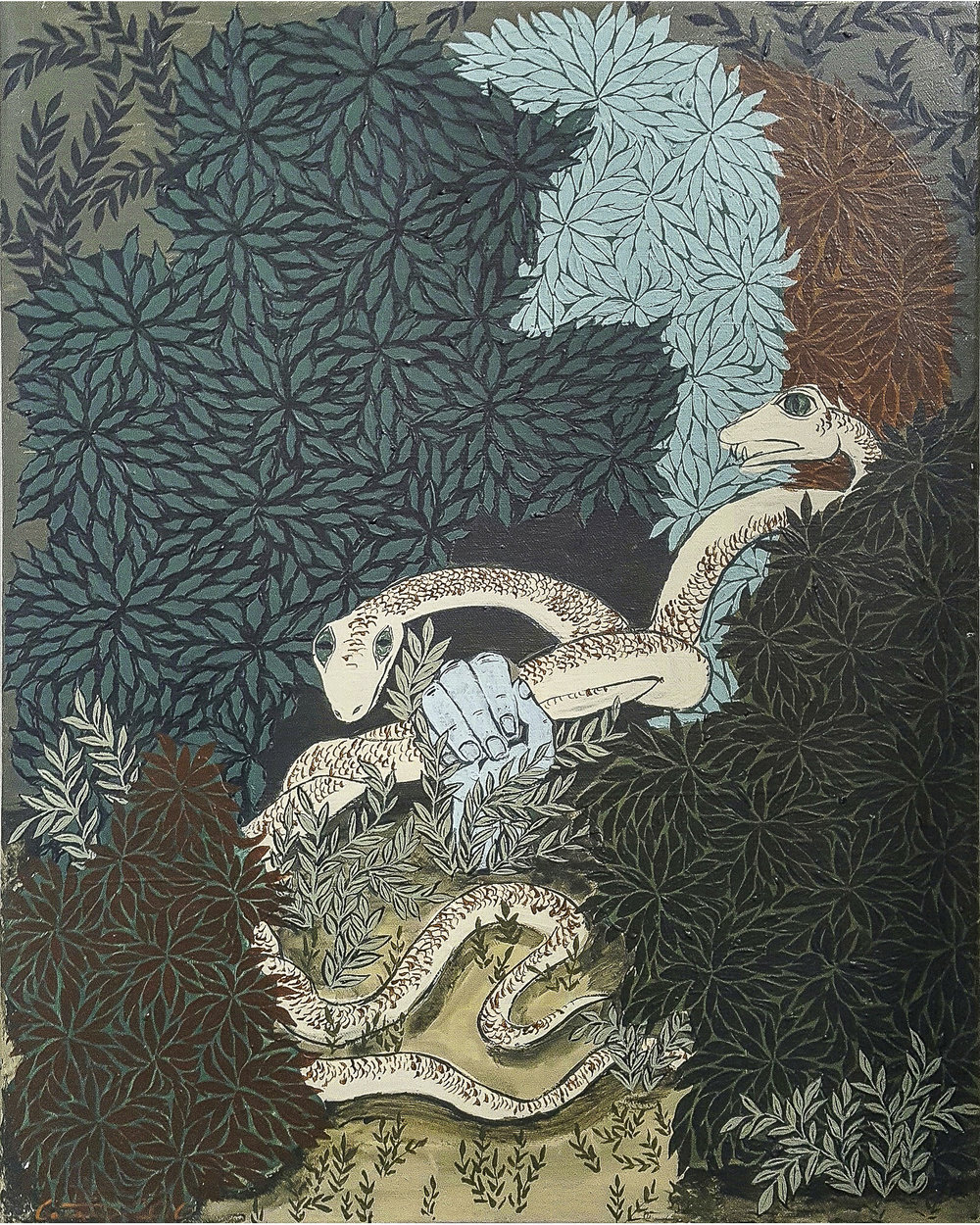 """Snakes in the Grass . Polymer paint on canvas. 20""""H x 16""""W."""