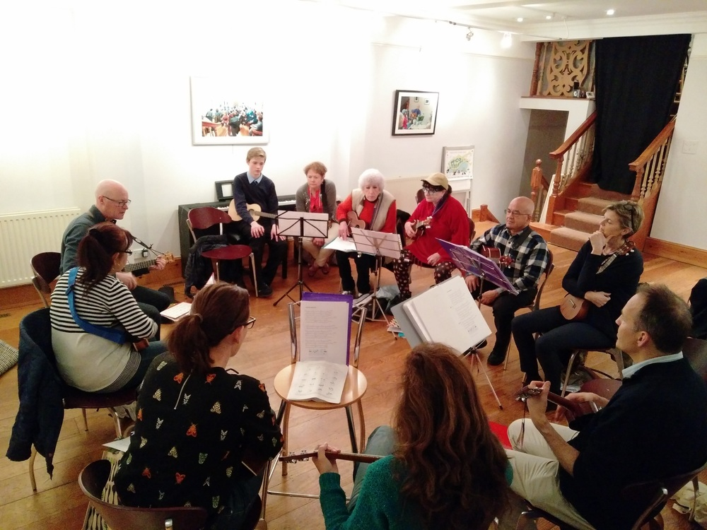 U-kew-lele gets their uke on @ The Uke-Academy (rehearsal is the first Monday of every month)
