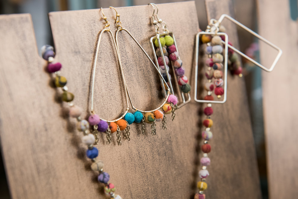 Kantha framed earrings, $22 | Kantha horseshoe necklace, $36  |  Kantha beaded fan earrings, $22 |  Garden Supply Company