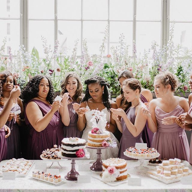 Jyra and her maids 💕 • Photo @emilygreenphoto Sweets @chasingwang Flowers @fat.river.farm • #clarkandkelly #weddingplanner #nolaweddingplanner #neworleansweddingplanner #fatriverflowers #thingsworthchasing #nopsihotel #emilygreenphoto #brunchwedding #latavola #bridesmaids #weddinginspo #wildflowers