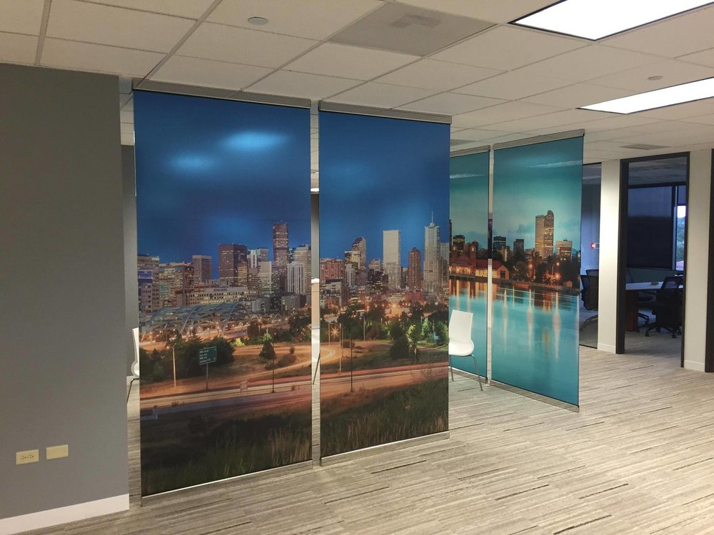 Denver Skyline printed on 3M™ Dusted Crystal