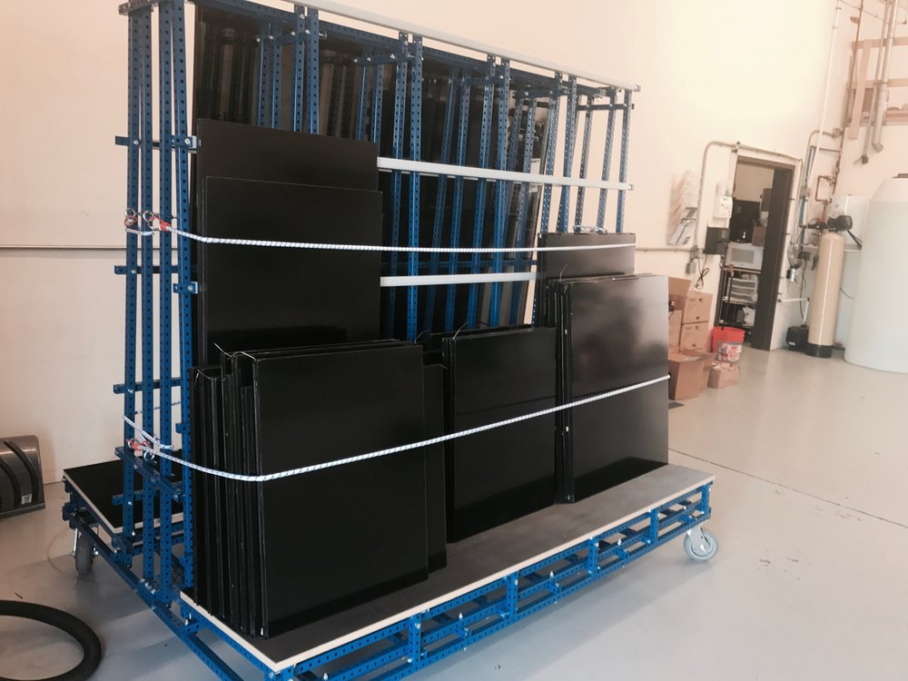 Custom glass racks make it easier, and safer for us to transport the glass to your trucks.