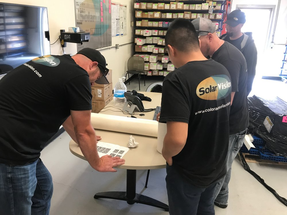 Solar Vision Morning Meeting.   Pictured: Heath (Owner), Dylan (Lead Installer), Ben D. (Install Supervisor), Brad (Installer)