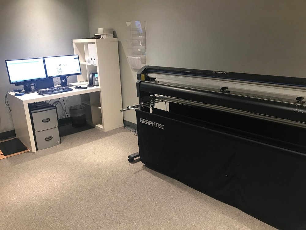 Our in-house graphics plotter can turn your concepts and designs into actual artwork for your office or store.