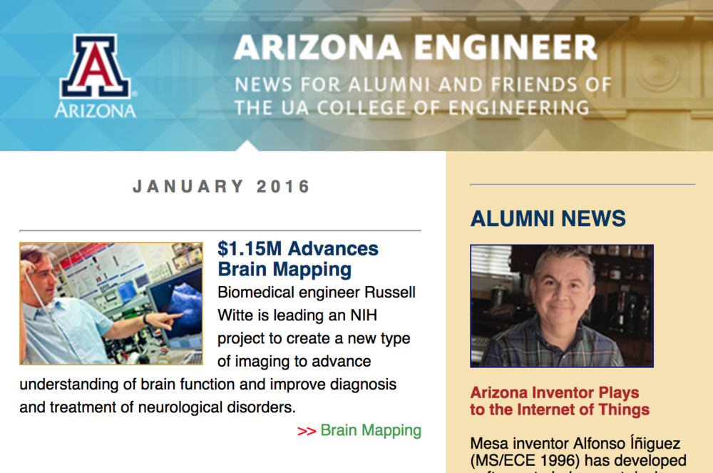 U of A News - Tucson, AZ, January 2016Arizona Inventor Plays to the Internet of Things