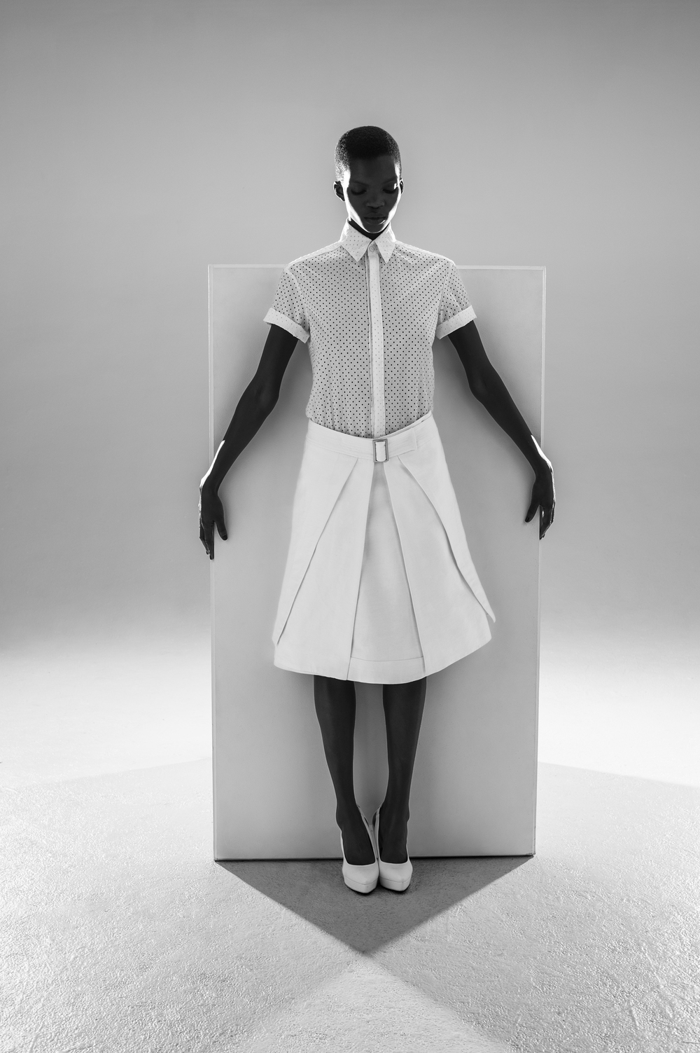 Shirt by Pheobe Wang, BFA Fashion Design. Skirt by Stephina Touch, MFA Fashion Design.