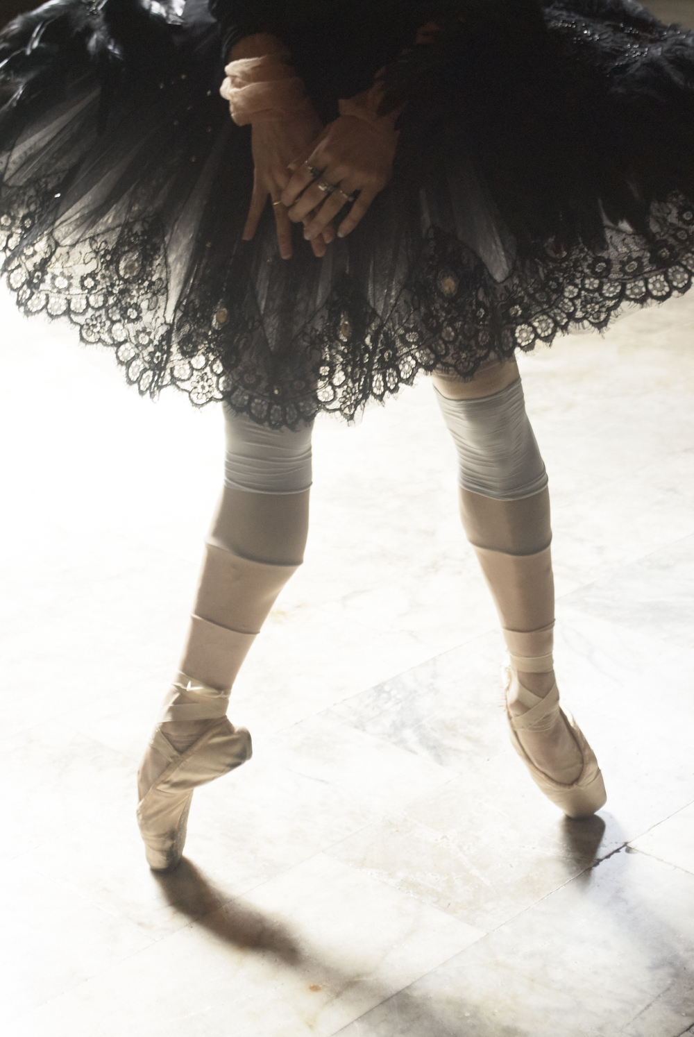 Tutu by Yi Li, BFA Fashion Design. Leotard and Pointe Shoes, model's own. All stockings, stylist's own.