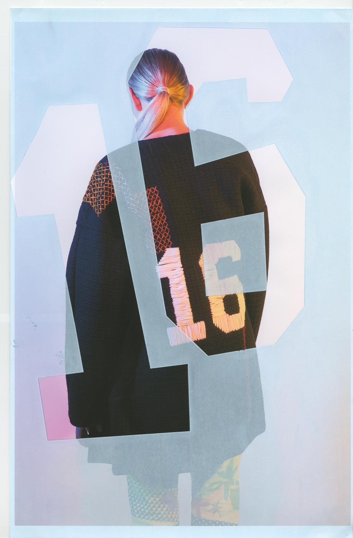 Coat by Nancy Garica, MFA Fashion Design. Printed Jeans by Ben Copperwheat.