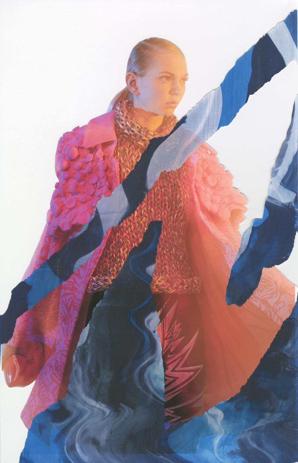 Leather hand-knit sweater by Jinhyun Kim, MFA Fashion Design. Coat by Jaci Hodges, MFA Fashion Design, and Nisha Hanna Btesh, MFA Textile Design. Leggings by Ben Copperwheat. Red Lip Clutch by Timmy Woods.