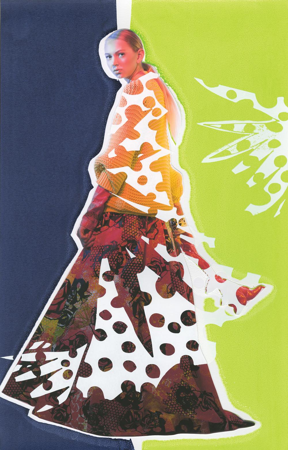 Sweater by Altazarra. Dress and Shirt by Jaci Hodges, MFA Fashion Design, and Nisha Hanna Btesh, MFA Textile Design. Mini Dinosaur Bag by BCBG MaxAzria.