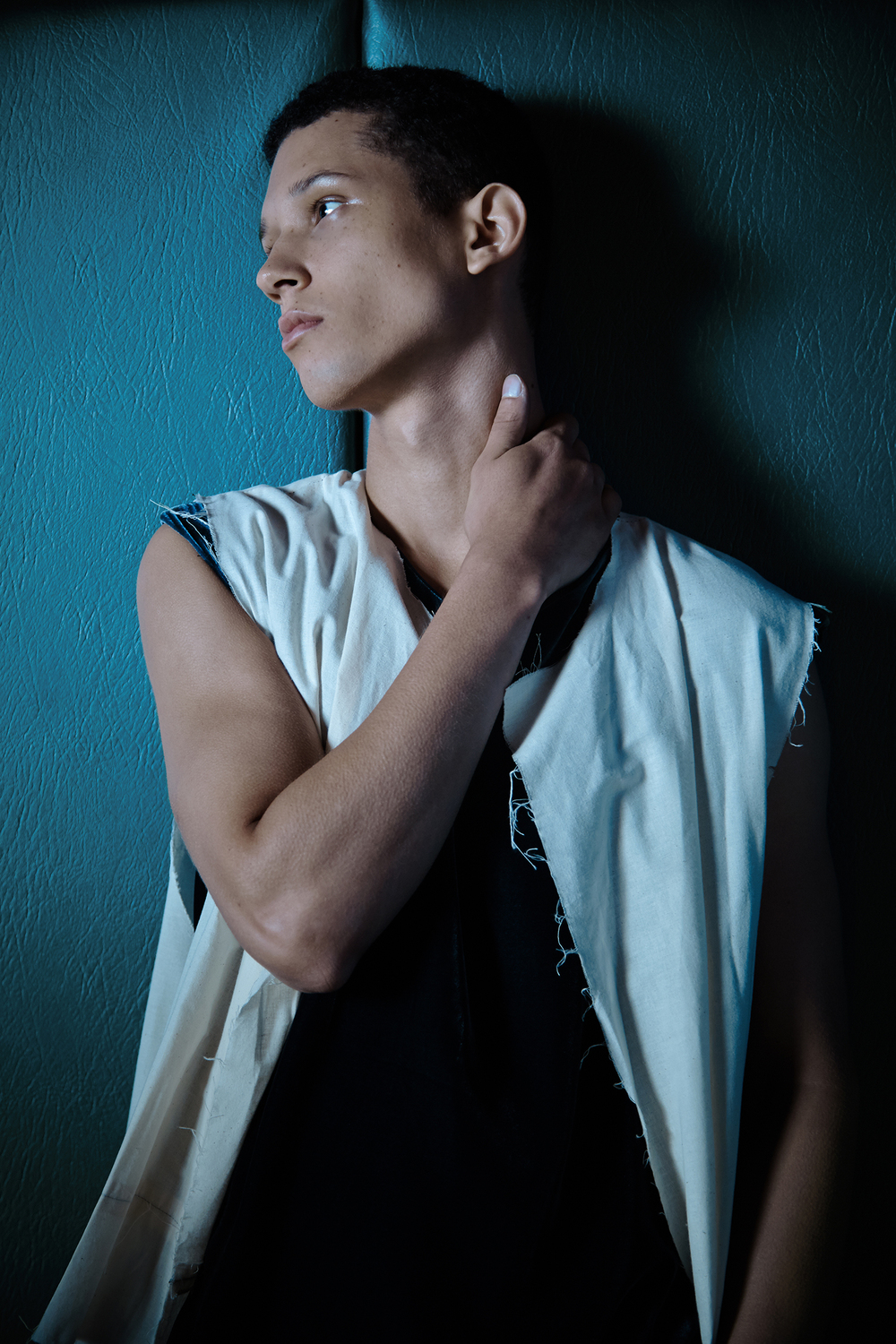 Velvet Tank by Cherng-Hanh Lee, BFA Menswear Design. Prototype Vest by James Nguyen, MFA Menswear Design.