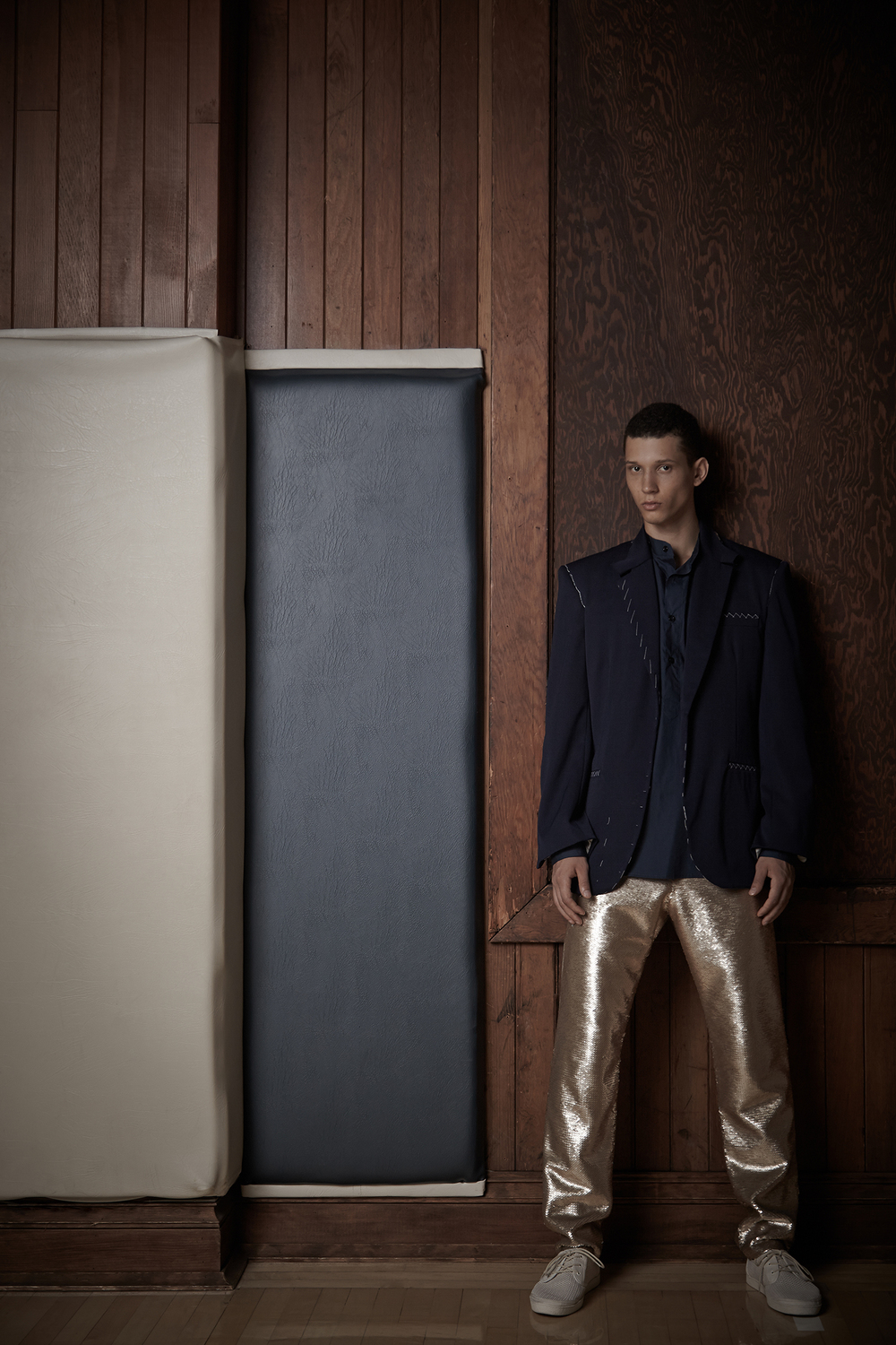 Tailored Jacket sample by Cris Applegate. Shirt by Antonio Lunas, Alumnus, 2012 BFA Menswear Design. Sequin Pant by Jeremy Vu, BFA Menswear Design.