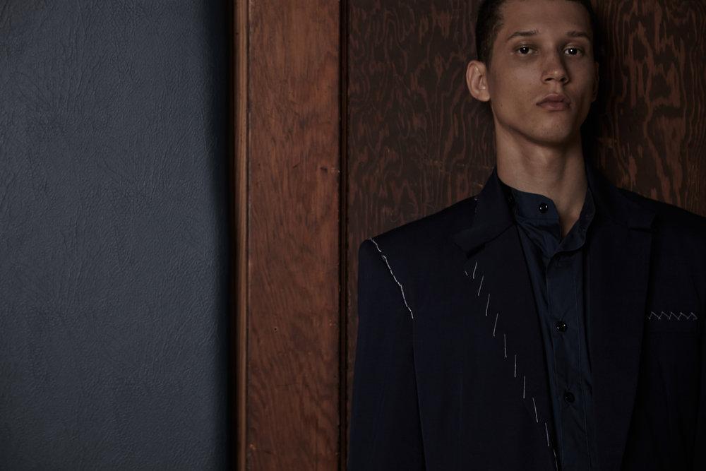 Tailored Jacket by Cris Applegate. Shirt by Antonio Lunas, Alumnus 2012 BFA Menswear Design.