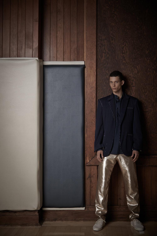 Tailored Jacket sample by Cris Applegate. Shirt by Antonio Lunas, Alumnus 2012 BFA Menswear Design. Sequin Pant by Jeremy Vu, BFA Menswear Design.