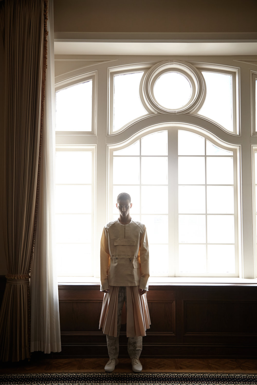 Prototype Windbreaker by Leslie Dilloway, BFA Menswear Design. Kilt by Ruone Yan, BFA Menswear Design. Pants by Zhi Li, MFA Fashion Design.