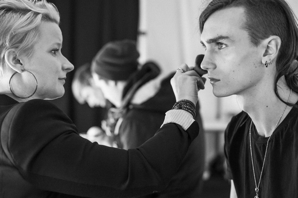 Gryphon O'Shea from New York Models backstage at the Fall 2014 show.