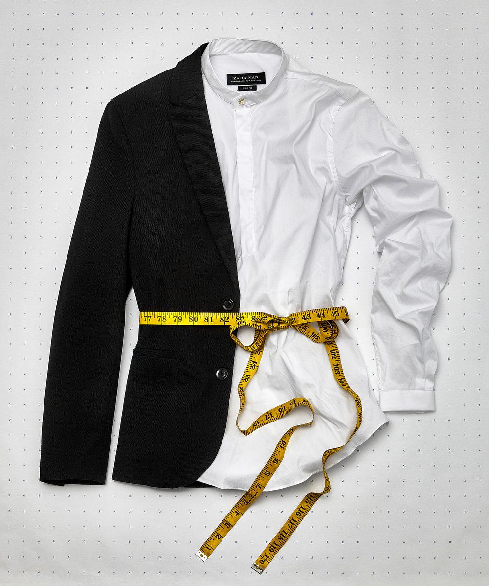 Photography by Nicolas Gutierrez, MFA Photography. Styling by Enrique Terrones, BFA Visual Merchandising, and Tuba Syed, BFA Visual Merchandising. Shirt and jacket, Zara.