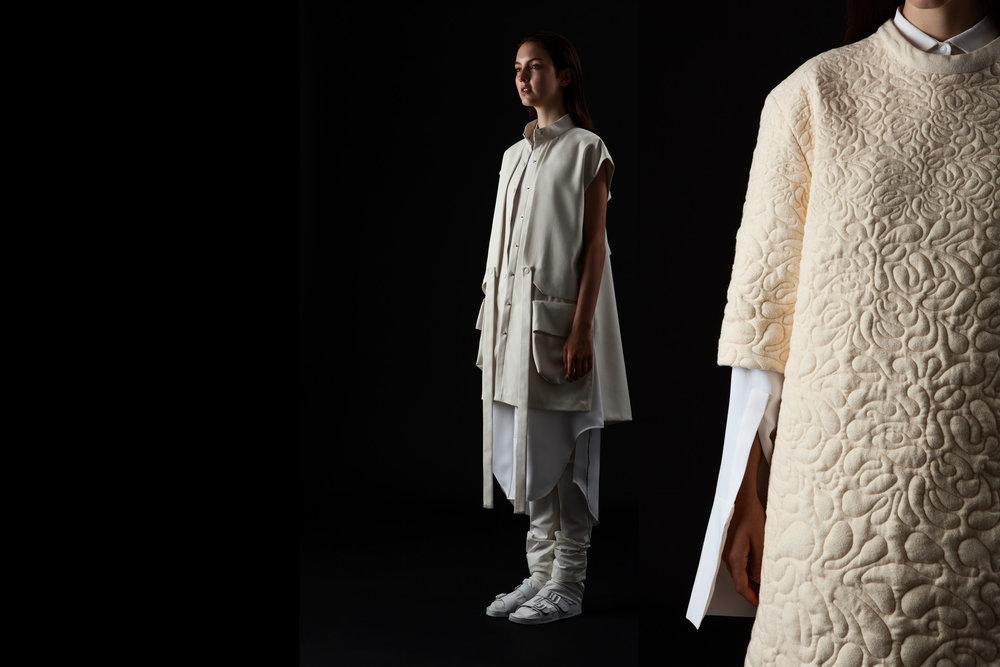 Dina Marie Lam, MFA Fashion Design (womenswear and printed textiles), and Carlos Rodriguez, MFA Fashion Design (embroidery).
