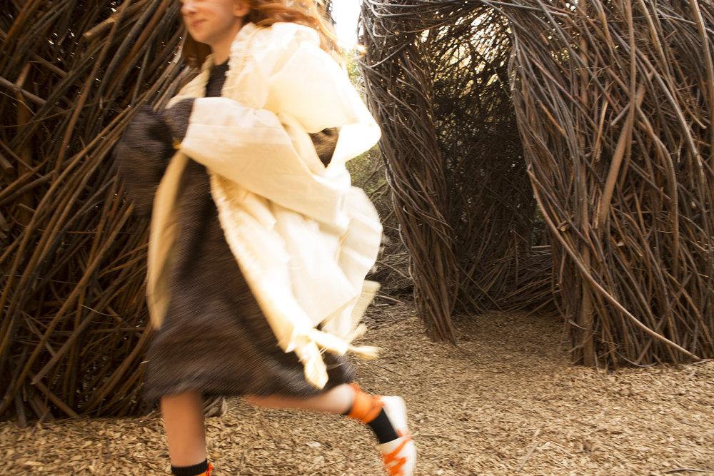 Sweater by Cana Klebanoff, BFA Knitwear design. Jacket by Jelly Shan, MFA Fashion Design.