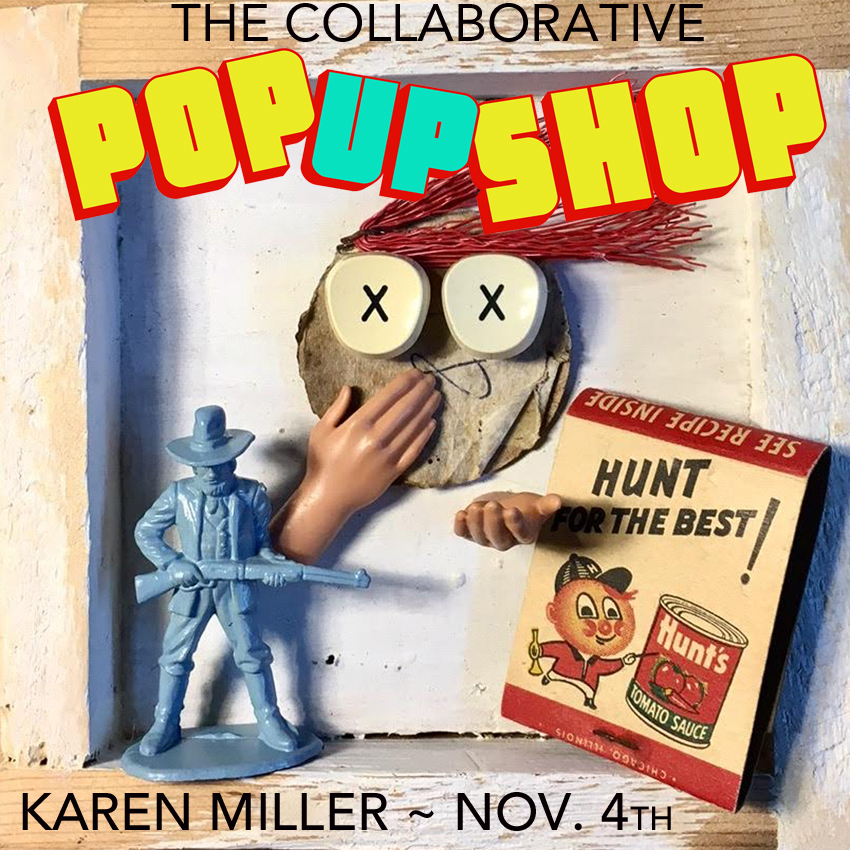 "Karen Miller - Karen is a self-taught welder and wood worker, whose focus is primarily small wall relief sculpture/collage made from entirely found objects. ""I like that the things I find have an unknown history and that I can revive that history by giving it a new life."""