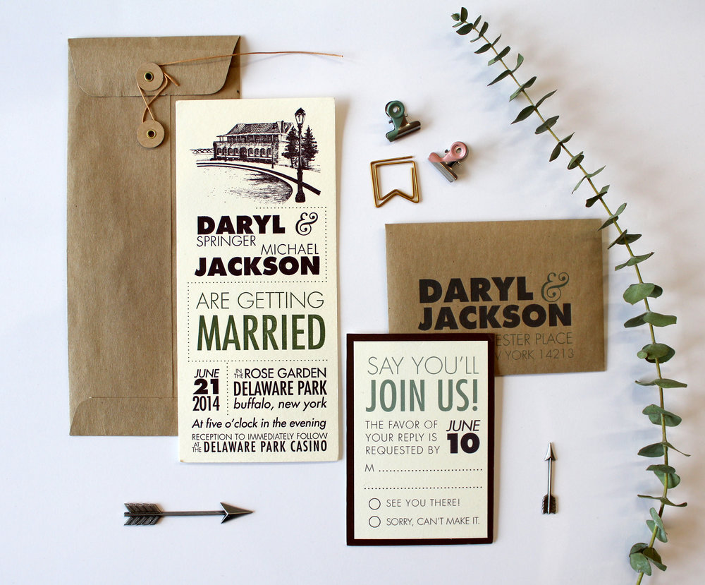 The Modernist   This suite features a modern, type-heavy design, with our line of 20 existing landmark illustrations to choose from. Getting married somewhere not on our list? We can make one just for you! Suite shown in two color letterpress, with digital enclosure cards and RSVP envelope. Also available in all letterpress, or printed digitally as part of our Standard Suite.
