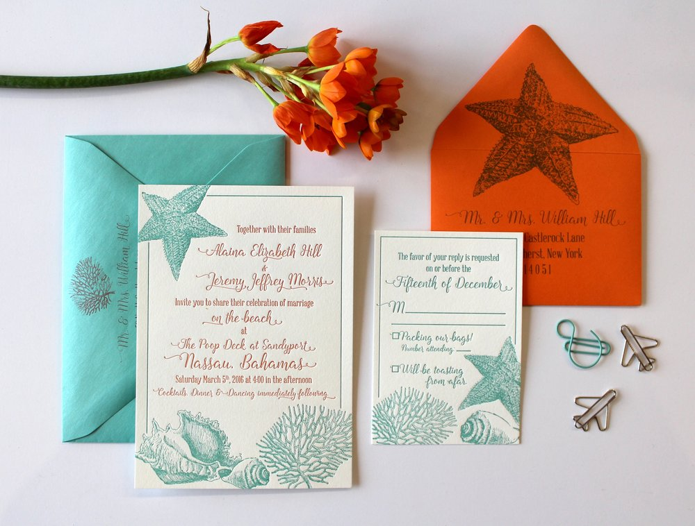 The Islander   Getting married somewhere tropical? This suite is perfect for either a destination wedding or one on a beach! Suite shown with letterpress two color printing, but can be customized for your colors. Also available in one color letterpress printing, or printed digitally as part of our Standard Suite.