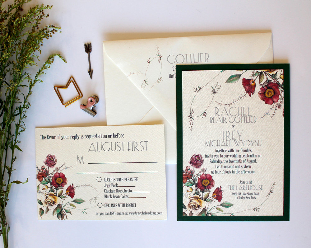 "The Botanist   Reminiscent of old botany illustrations and seed packets, this suite is charmingly ""vintage"" without being too trendy. Suite pictured with RSVP postcard, but is can be upgraded to an RSVP card and envelope. Shown with a deep green layer, but available in any color or an upgrade to a pocketfold for the Couture Suite."