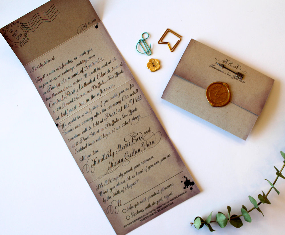 The Loveletter   Forget the traditional wedding invitation wording, and invite your guests to your special day with a love letter. Includes all the important info, PLUS a tear-off RSVP card, this all-in-one lovely can mail all by itself, or in an envelope. Wax seal recommended (but not necessary) and is available in a WIDE variety of wax colors.