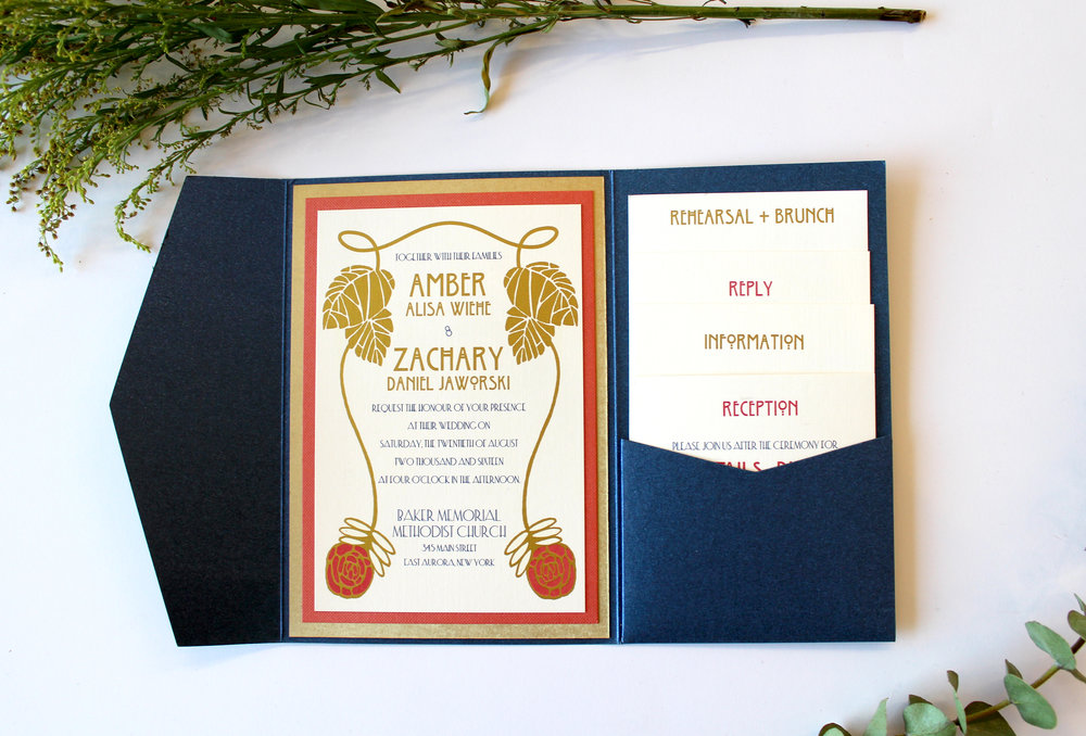 "The Roycroft Inspired by the Roycroft ""Rose"" design and nature woodcuts, this suite is perfect for any Arts and Crafts fan, not just a couple having their reception at the Roycroft Mansion. Shown here in Suite shows with digital gold printing, and four enclosure cards. For events with less information to send to your guests, this design can be simplified as our Standard Suite."