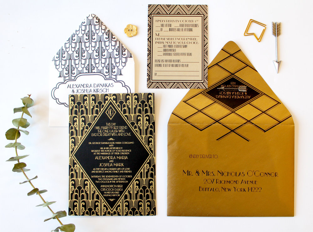 The Gatsby   The art deco invitation of your dreams. This gold foil and digital mixed suite is an affordable blend of luxe texture and metallic golds. Suite shown here with gold foil and gold edge painting, with different shades of gold stocks, but can be customized to fit your event! Also available in digital gold as part of our Standard Suite, or paired with a pocketfold for our Couture Suite.