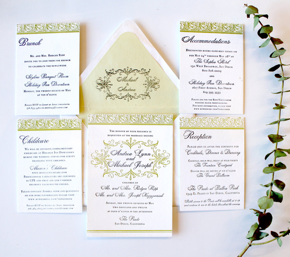 The Balboa Inspired by Spanish tile and wrought iron gates in Balboa Park, San Diego, this two color letterpress suite is right at home in any romantic setting. Shown here with a custom envelope liner, and four enclosure cards. Suite can be customized in your colors, and is also available in one color letterpress printing, printed digitally as part of our Standard Suite, or paired with a pocketfold for our Couture Suite.