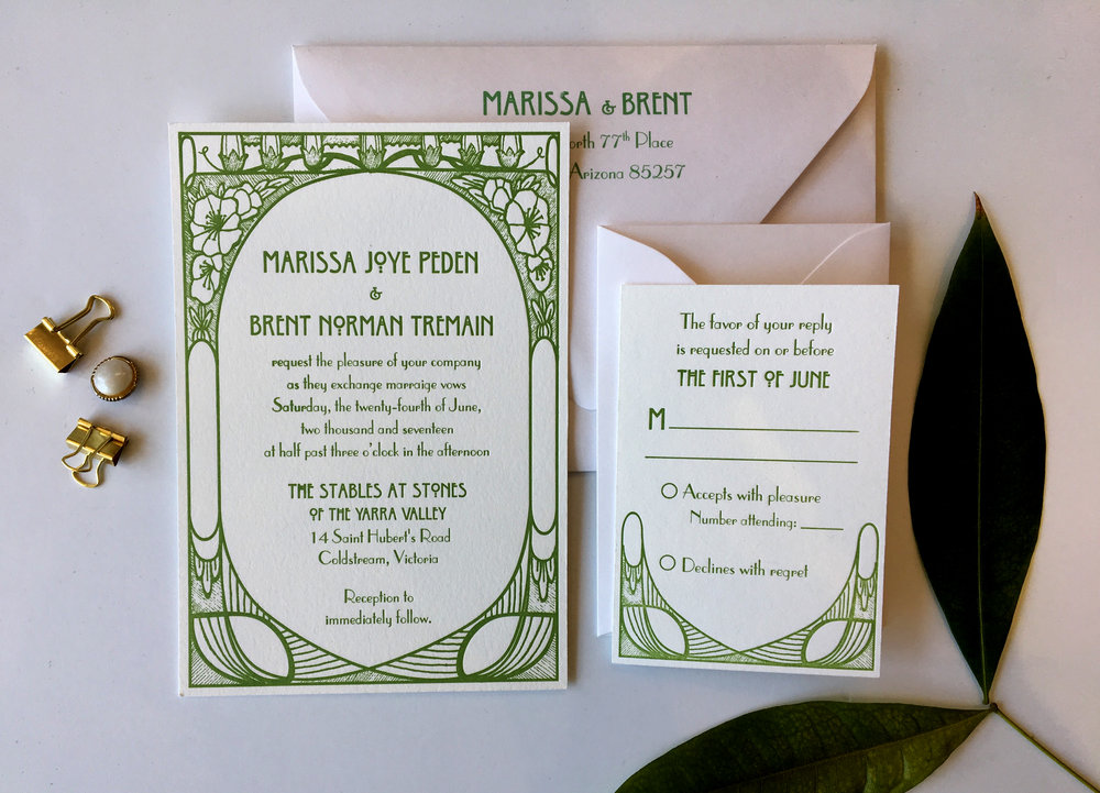 The Mucha Styled after the beautiful artwork of Alphonse Mucha, this art nouveau design borders your invitation wording with grace and style. Simple, yet elegant, this suite is sure to impress, and is available in any color, in letterpress or an upgrade to a pocketfold for the Couture Suite.