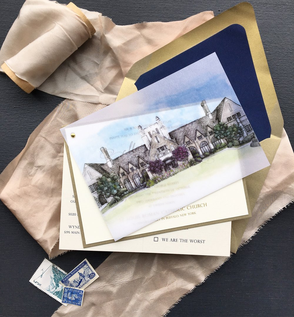The All-In-One   Contain everything in one piece without a pocketfold. Shown here with Park Country Club, digital gold printing, and attached RSVP and reception cards. For events with more information to send to your guests, this design can be expanded to include up to 4 layers.