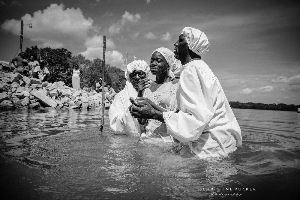 A traditional river baptism on Hilton Head Island, SC. The Gullah, a civilization living on the Sea Islands of South Carolina have upheld its West African legacy for more than 100 years through cherished traditions in spirituality, music, food and language.