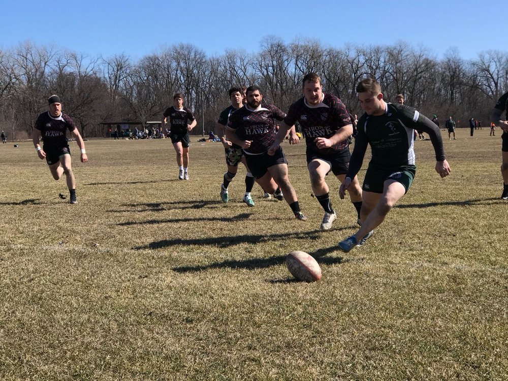 The Ducks fly after a loose ball at Whiskey 10s in Chicago.